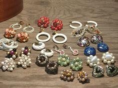 Vintage Clip on Earring Lot, Wonderful Collection, 18 Great Pairs, Enamel, Clipons, Hoop Clipons, Goldtone, Cluster Earrings by VintageFlowerTop on Etsy