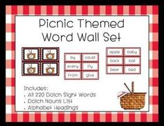 Complete Dolch Word Wall - Picnic Theme
