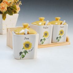 Basons ceramic modern fashion piece set spice jar set sunflower daily use