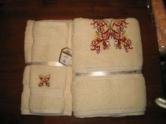 Plush Embroidered Butterfly Towel Set cream by ApronsGallery, $68.50