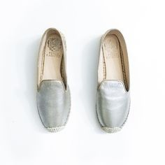 """SALE‼️NWOT Vince Camuto Silver Espadrilles Super casual and on trend. Brand new, never worn. No box, will provide different shoe box. I photographed these photos myself, please don't copy for your own use.  • Runs small even though labeled as an 8, probably better for a 7.5, may stretch out with prolonged use • Silver on leather • 1"""" platform  • Due to lighting, item's color in person may vary from photos • Due to the nature of metallic leather, it may be darker in regular lighting  • MAKE…"""