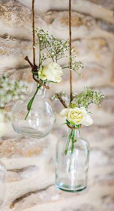 Le Vase Vintage Bouteille à la Mer à Poser ou Suspendre | Décoration de table mariage
