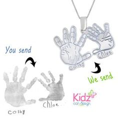 Create your own personalized pendant with your babies hand or foot print.