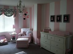 Classy girls nursery by spellitwithstyle, Etsy (wall art idea, set of drawers idea)