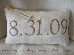Date Pillow FREE SHIPPING- Burlap Date Pillow- Customized Date Pillow- Personalized Pillow- Wedding Gift- Anniversary Gift- Birthday Gift. $28.00, via Etsy.