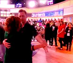"""""""The View: What happens on set during commercial breaks: Joy Behar gets swept up into the arms of Avengers' Loki himself, the handsome Tom Hiddleston!"""" https://www.facebook.com/TheView/videos/vb.149475666523/10153092968366524/?type=2&theater"""