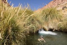 Termas Puritana, San Pedro de Atacama, Chile  Atacaman autiomaassa ei juuri sada, mutta silti siellä on monia hämmästyttävän hienoja uimapaikkoja. Lue blogista, mikä muu matkalla ällistytti.  http://www.exploras.net/matkablogi/11122015-2