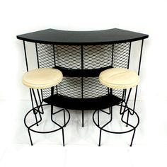 Free Shipping 1950s Weinberg Wrought Iron Cocktail Bar with 2 Bar Stools Mid Century Modern