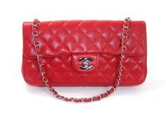 Chanel Red Lambskin Small East West Flap Bag