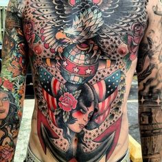 full chest tattoo, traditional