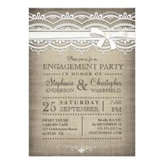Inspired by linen and lace, this beautiful, white lace design is accented with a faux bow and is set against a linen textured effect background. The popular aged, vintage look and background are part of the design. A lovely, casual and elegant Engagement Party invitation suitable for a country couple or a rustic or vintage themed wedding. Also available in matching Thank You cards, postage and stickers. #lace #linen #burlap #rustic #country #vintage #white #lace #wedding #engagement #party…