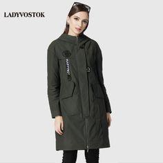 Best Sellers $118.00, Buy LADYVOSTOK Casual windbreaker fashion headphones women's coats women's leisure long section 17-079