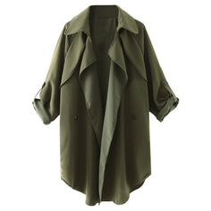 Waterfall Buttoned Trench Coat ($32) ❤ liked on Polyvore featuring outerwear, coats, olive green coat, waterfall trench coat, button coat, olive coat and button trench coat