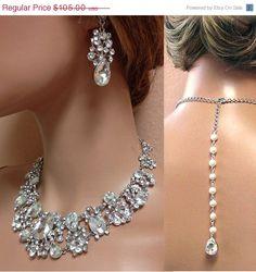 Wedding jewelry set Bridal back drop bib by BijouxandCouture, $85.00