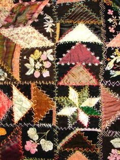 3186: Antique Crazy Quilt with very elaborate embroider : Lot 3186