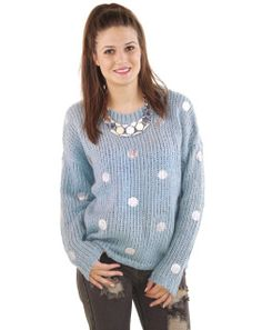 """A pixie pop from silver dots adorns this baby blue sweater. Oversized and great for pairing with grungy denim! Great to throw on over a tank for class or running errands.   By JOA  Acrylic/Wool  Imported   Model Info: Height: 5'9"""" 