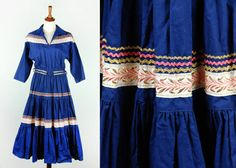 Blue Fiesta Dress with Pink & Gold Trim by DesertMoss on Etsy