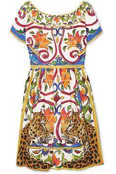 Dolce & Gabbana | Maiolica pleated printed cotton-poplin dress | NET-A-PORTER.COM
