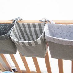 Items similar to Children's furniture, three baskets of fabric storage system, baby storage, storage for children-white and gray, crib accessories on Etsy - Stofftiere
