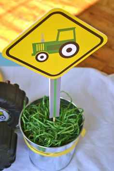 Live Smile Celebrate: John Deere Tractor Birthday Party so cute for center pieces