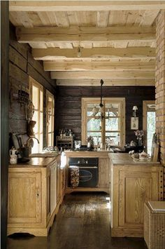 Very Nice Log Cabin Kitchen Love This Wood Color Combo