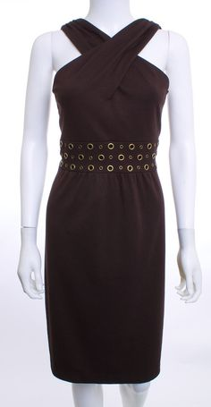 DAVID MEISTER CROSS OVER TOP EMPIRE WAIST BRASS INSETS BROWN DRESS SZ 4
