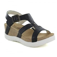 Fly London Weil Womens Leather Wedge Sandals - Black
