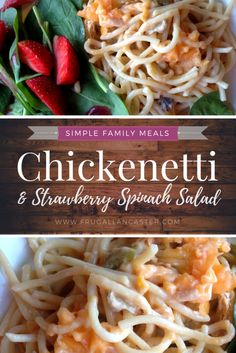 Chickenetti with Strawberry Spinach Salad—A Simple Family Dinner Idea. A budget friendly recipe and meal idea to simplify your life, minimize your time in the kitchen and help you know what combinations of food to serve. Plus, you'll eat the colors of the rainbow!