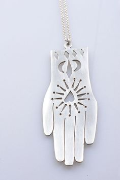 Silver Hand or Hamsa necklace by mcfarlanemetal on Etsy, €120.00