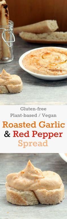 Nutritionicity Recipe: Roasted Garlic and Red Pepper Spread (Gluten-free, Vegan/Plant-based) A perfect flavor pairing. So creamy, rich and smooth you will never guess it's plant-based.