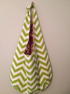 Tote Bag/ Market Bag/ Slouchy Bag in Green Chevron by LilyAlyssaBoutique,
