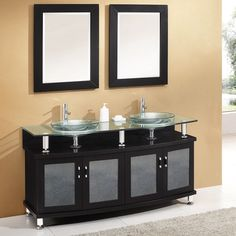 Pictures In Gallery  Crater Glass Bathroom Vanity Espresso This stunning yet simple modern bath vanity exudes charm and sophistication It is an elegant additi u