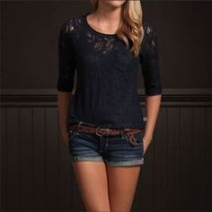 Adorable outfit, lace navy three-quarter sleeve top with cute jean shorts