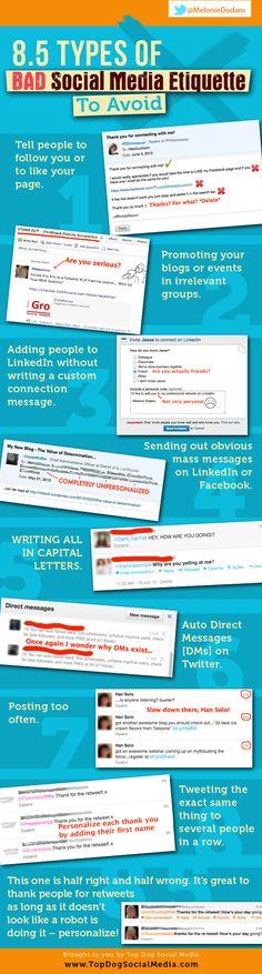 8.5 Lessons In Social Media Etiquette For Business #Infographic #SMM #Marketing #SocialMedia