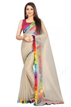 """Light Beige net saree with magenta art silk blouse. Embellished with stone work. Saree with Square Neck, Sleeveless. It comes with unstitch blouse, it can be stitched to 32 to 58 sizes. Saree come with """"UNSTITCHED"""" blouse fabric material. #Saree #IndianSaree #Sareeonline #PartyWear #Sareelove"""