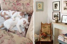Un espacio decorado con objetos de segunda mano  Un cuadro de un pájaro sobrevuela una silla que la vive con ella desde hace años..