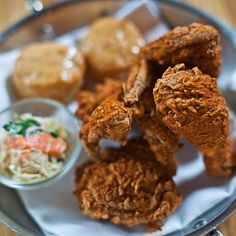 The incredible crispy fried #chicken with baked-to-order honey-butter #biscuits at chef-restaurateur Andrew Carmellini's Americana spot, The Dutch.