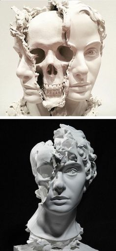 Thought-Provoking Sculpture of Split Head Reveals a Hauntingly Surreal Skull Within #Statues