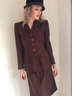 1940s Suit, 1940s Movies, Suits For Women, Movie Stars, Vintage Fashion, Etsy Shop, Blazer, Lady, Brown