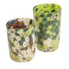 "These exceptionally beautiful glasses are made with multicolored ""murrine"" with a dominant gold and green cast. Made by hand according to centuries old traditions, these are truly miniature artworks for the table. La Fornasotta prides itself as the keeper of this particular technique and relishes the slight variations which characterize each piece. You will delight in the remarkable beauty of each and every one of these stunning glasses. This set comes with 6 water and 6 wine glasses and we…"