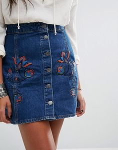 Discover Fashion Online | Pull&Bear Embroidered Button Through Denim Skirt
