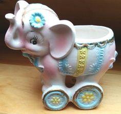 Ceramic Baby Elephant Planter Japan Vintage National Potteries Cleveland