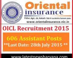 Oriental Insurance Company New recruitment 606 Assistant