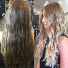 Throwing it back to one of my all time fave transformations . . . . . . . . . #behindthechair #transformation #beforeandafter #balayage #blonde #blondebalayage #longhair #waves #texture #babylights #lorealpro @chelseahaircutters #instahair #hairstyles