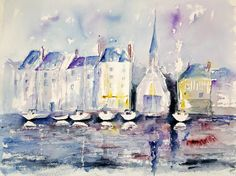 "Honfluer In Normandy, Martine Jacquel Saint Ellier, Watercolor,17.3"" x 21.6"""