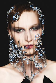 """giorgio armani privé couture fall 2012 6 """"I don't know where I could wear this, but I love it!...A gem of a veil!"""""""