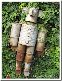 Tin Can garden ornament with instructions.