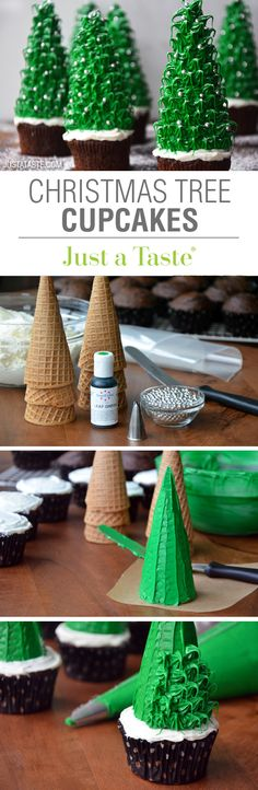 Christmas Tree Cupcakes recipe via justataste.com | The ultimate festive holiday dessert!