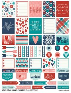 FREE Printable Planner Stickers for the Erin Condren Life Planner by Traci Reed using the Heart Attack digital collection