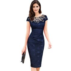 Cheap party dresses, Buy Quality evening party dress directly from China vestidos women Suppliers: TYJTJY Vestidos Womens embroidery Elegant Vintage Dobby fabric Hollow out embroidered Ruched Pencil Bodycon Evening Party Dress Lace Summer Dresses, Summer Dresses For Women, Elegant Dresses, Short Sleeve Dresses, Dresses For Work, Dress Work, Short Sleeves, Dress Summer, Office Dresses